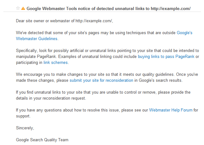 Webmaster guidelines warning