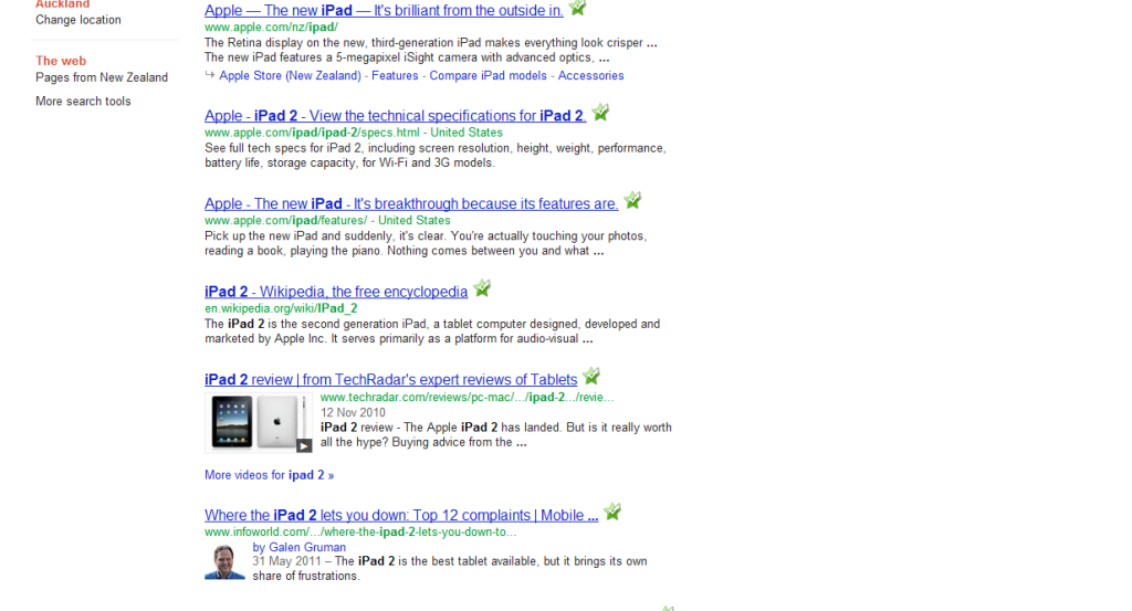 Google search for iPad 2