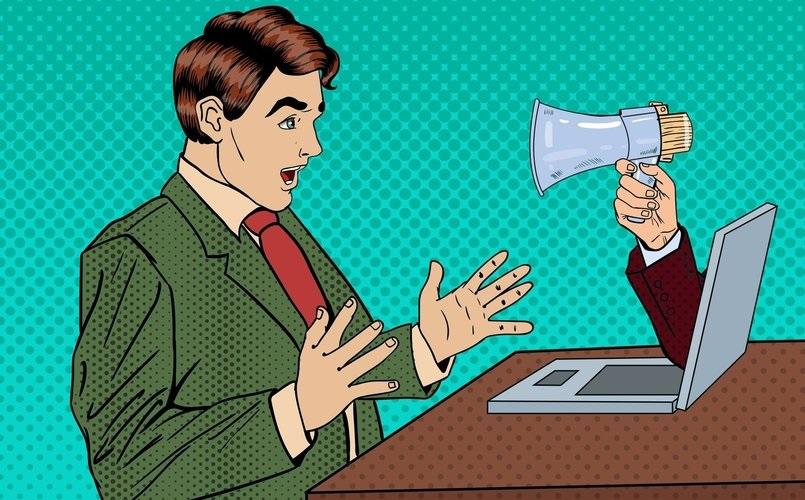 shouting at man online