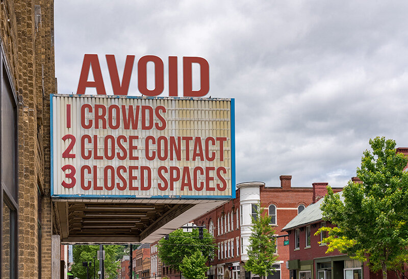 Movie cinema billboard with avoid the coronavirus or Covid-19 epidemic by avoid crowds, close contact and closed spaces